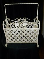Antique Vintage Wrought Iron Magazine Rack Stand Shabby Chic Cottage Beauty
