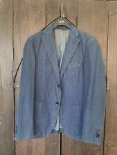Herringbone Sydney Blazer Jacket Blue Chambray Denim LONG SLEEVE M 8 52 Men's