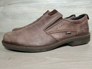 Ecco Gore Tex Loafer Men size 46 12-12.5 Brown Leather (b4
