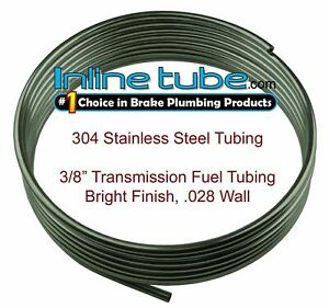 """3/8"""" OD x 20' Length x .028"""" Wall Type 304 Stainless Steel Tubing Coil DIY Flare"""