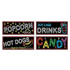 Beistle Company 148356 Neon Food Sign Cut Outs