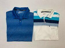 2 Men's Nike Golf Short Sleeved Striped Polo Shirt Tour Performance Dri-Fit Sz L