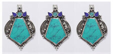Asian design Lot of 3 pcs Sterling Silver Pendants Jewelry Turquoise Lapis PP94