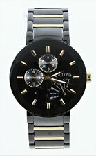 Bulova Classic Luminous Black Dial Two Tone Men's Watch 98C124 Scratched Crsytal