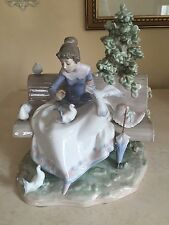 LARGE LLADRO #5428 FEEDING THE PIGEONS GIRL BENCH DOVE RARE!  Repair