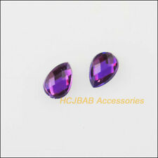 500 New Plastic Rhinestone FlatBack Teardrop Acrylic Purple Faceted 4x6mm