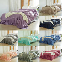 Quilt Duvet Cover Set Pillowcase Solid Color Bedclothes Twin Queen King All Size