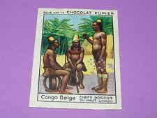 CHROMO CONGO BELGE N°234 CHEFS INDIGENES CHOCOLAT PUPIER AFRIQUE 1938-1950