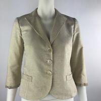 ETRO Women's Gold Metallic Striped 3/4 Sleeve 3 Button Blazer Jacket 44 US 8