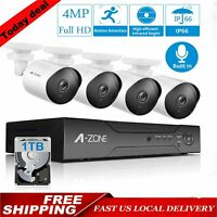 A-ZONE H.265+8CH 4MP NVR 1TB 1080P POE Outdoor IP Network Security Camera System
