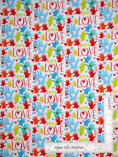 Love Heart Hand Religious #6613 Cotton Fabric HG&Co Jesus Loves Me By The Yard
