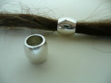 2 x Plain Silver effect White Metal DREADLOCK BEADS 7mm Hole - NOT ACRYLIC !