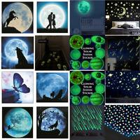 3D PVC Moon Stars Glow In The Dark Luminous Fluorescent Wall Stickers Room Decor