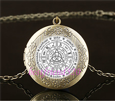 Vintage Celtic Wheel of the Year Cabochon Glass Brass Locket Pendant Necklace