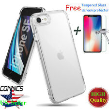 For Apple iPhone SE (2nd Gen. 2020) Case [Fusion] Clear TPU+Tempered Glass Cover