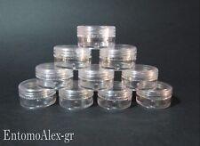contenitori vasetti plastica acrilico 5g x10 tappo vite pillole creme perline T.