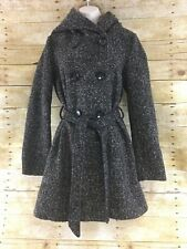 CoffeeShop Trench Coat Junior Medium Boucle Double Breasted Hooded Belted Winter
