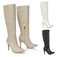 Womens Knee High Boots Ladies Stiletto Heel Calf Pointed Synthetic Leather