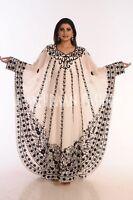 2018 CREAM ISLAMIC BRIDAL MODERN ARABIC FANCY JALABIYA GEORGETTE KAFTAN DRESS