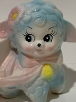 Vintage kitsch Happy LAMB & wagon pink & blue baby planter unmarked