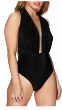 Womens Ladies Plunge Halter Neck Backless Stretch Slinky Bodysuit Dress Top