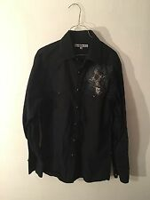 MANCHESTER ESC CROSS PEARL SNAP LONG SLEEVE SHIRT SIZE LARGE BLACK
