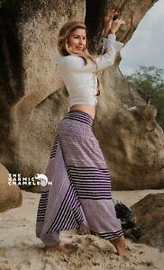 Harem Pants Purple & White Stripe Hippie Print Comfy Yoga Festival Boho Gypsy