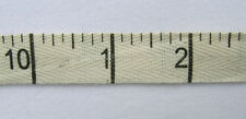 "RIBBON (per metre) Natural Cotton Twill INCHES (5/8"" width) measuring tape print"