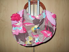 Monsoon Fine Corduroy Colourful Floral Small Bag With Round Wooden Handles