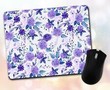 Flower Mouse Pad • Purple Watercolor Floral Pattern Gift Decor Desk Accessory