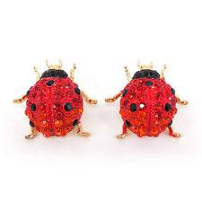Full Crystal Big Beetle Ladybug Insect Super Twinkling Czech Crystal Earrings