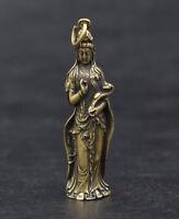 Chinese pure brass Guanyin bodhisattva Buddha small pendant 5.4cm