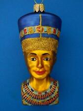 NOFRETETE NEFERTITI HAND PAINTED BUST EUROPEAN BLOWN GLASS CHRISTMAS ORNAMENT