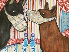 Australian Kelpie in Quarantine Mask Original 9x12 Painting Artist Ksams Dog Art