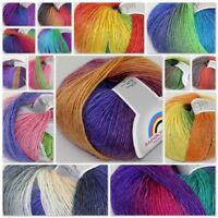 Sale Soft Cashmere Wool Colorful Rainbow Wrap Shawl DIY Hand Knit Yarn 50gr ball