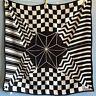 "Vera Neumann Vintage Black White Geometric Monochrome 26""  Scarf Star MCM"