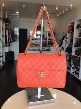 Chanel Coral Coco Flap 2.55 Lambskin Maxi Jumbo Flap Handbag Purse Pickup@LA