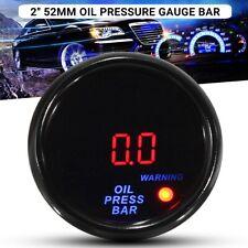 "2"" 52mm 0-10 Bar Car Oil Pressure Gauge Digital LED Display Black Face w/ Sensor"