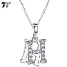 TT 18K White Gold GP Letter H Pendant Necklace With Box Chain (NP331H) NEW