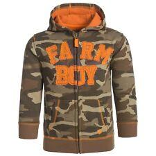Farm Boy Camo Camoflauge & Orange Infant Full Zip Hoodie Jacket 2T NWT