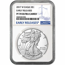 2017 W Silver American Eagle Coin PF70 UC ER NGC Blue Label