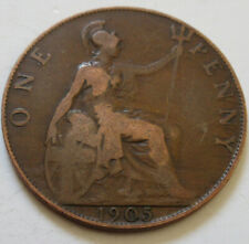 1905 Great Britain ONE PENNY Coin. BETTER GRADE (RJ552)