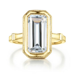 Anniversary Special Ring Solid 10K Yellow Gold Cubic Zirconia Emerald Cut 12x6mm