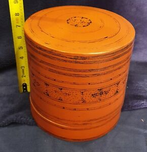 Burmese Asian Red Lacquer Hand Painted Betel Box RARE ANTIQUE 8 x 8 inches