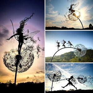 Fairies and Dandelions Dance Together Garden Stakes Yard Art Outdoor Decor UK