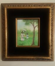 Dom Mingolla Enamel on Copper Vintage Painting Girls With Umbrella Signed