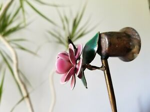 Vintage PINK FLOWER Bovano of Cheshire CANDLE SNUFFER Copper Enamel Art Piece