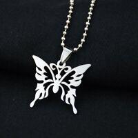Men Women Butterfly Pendant Necklace Hip-Hop Rock Stainless Steel Jewelry Gifts