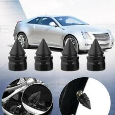 4 × Black Aluminum Spike Cone Tire Rim Valve Wheel Air Port Dust Cover Stem Caps