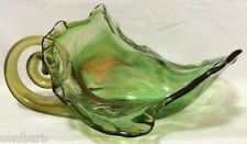 Art Glass Cornucopia Centerpiece Vintage Green Blown Console Dish Horn of Plenty